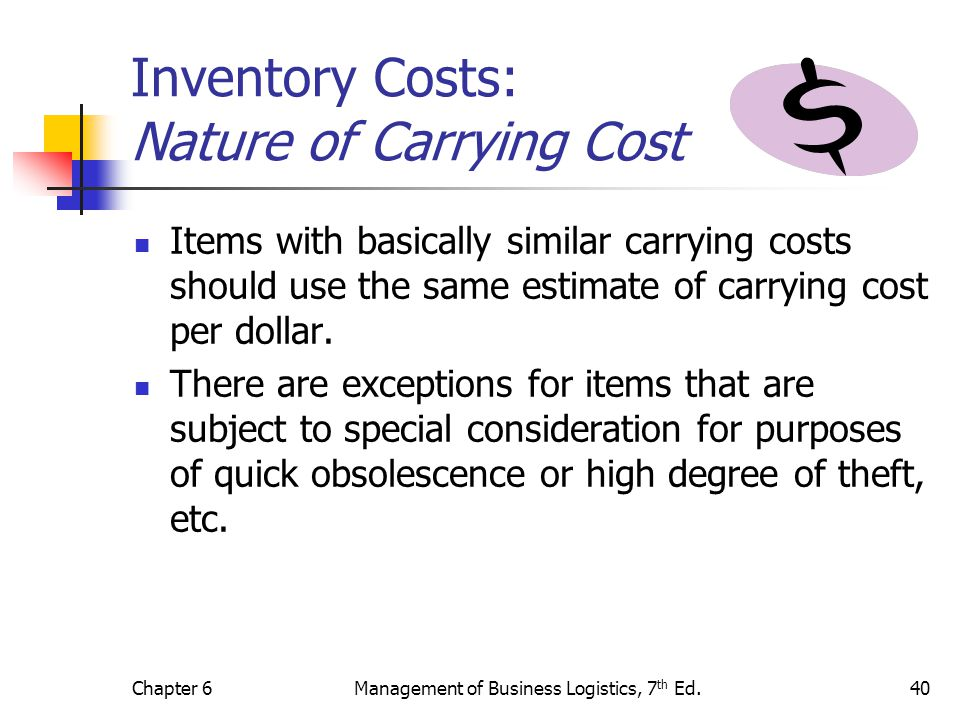 Chapter 6Management of Business Logistics, 7 th Ed.40 Inventory Costs: Nature of Carrying Cost Items with basically similar carrying costs should use