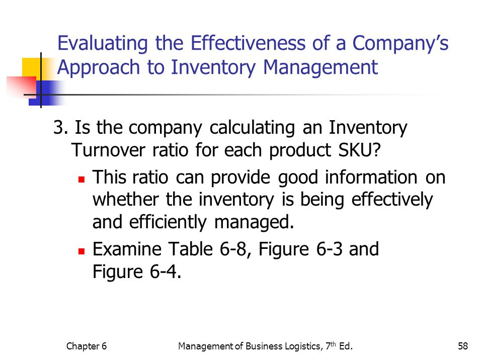 Chapter 6Management of Business Logistics, 7 th Ed.58 Evaluating the Effectiveness of a Companys Approach to Inventory Management 3. Is the company ca