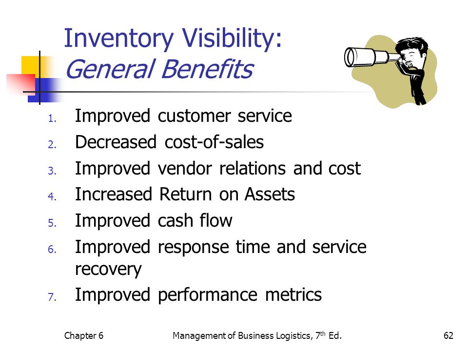 Chapter 6Management of Business Logistics, 7 th Ed.62 Inventory Visibility: General Benefits 1. Improved customer service 2. Decreased cost-of-sales 3