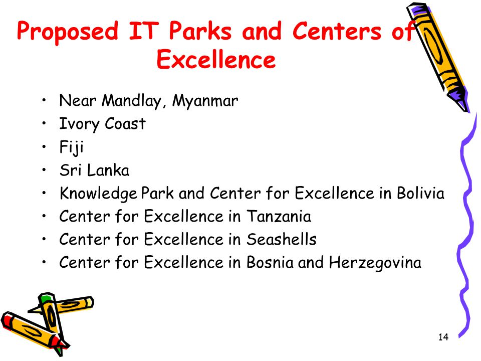14 Proposed IT Parks and Centers of Excellence Near Mandlay, Myanmar Ivory Coast Fiji Sri Lanka Knowledge Park and Center for Excellence in Bolivia Center for Excellence in Tanzania Center for Excellence in Seashells Center for Excellence in Bosnia and Herzegovina