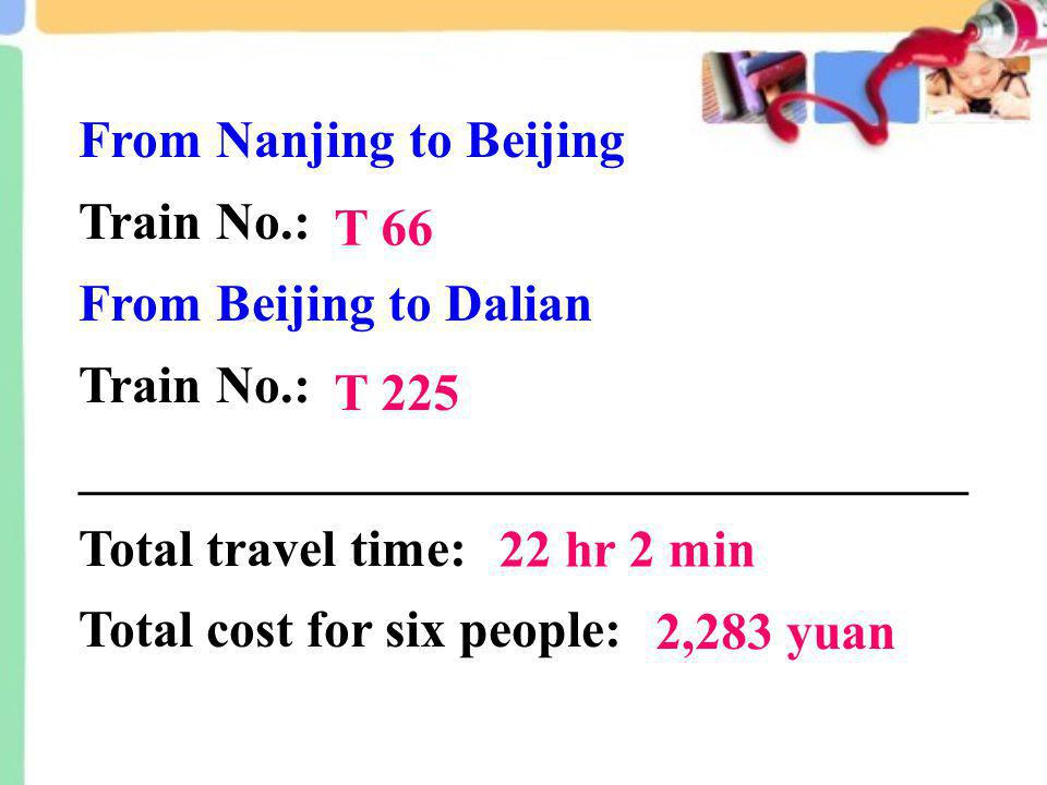 From Nanjing to Beijing Train No.: From Beijing to Dalian Train No.: __________________________________ Total travel time: Total cost for six people: