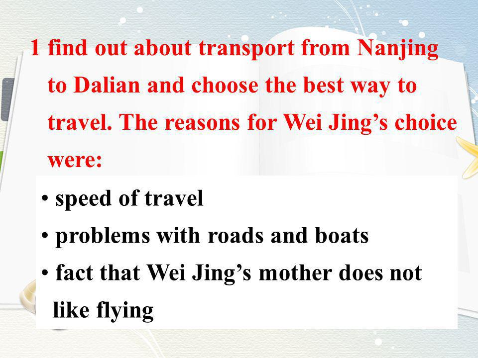 1 find out about transport from Nanjing to Dalian and choose the best way to travel. The reasons for Wei Jings choice were: speed of travel problems w