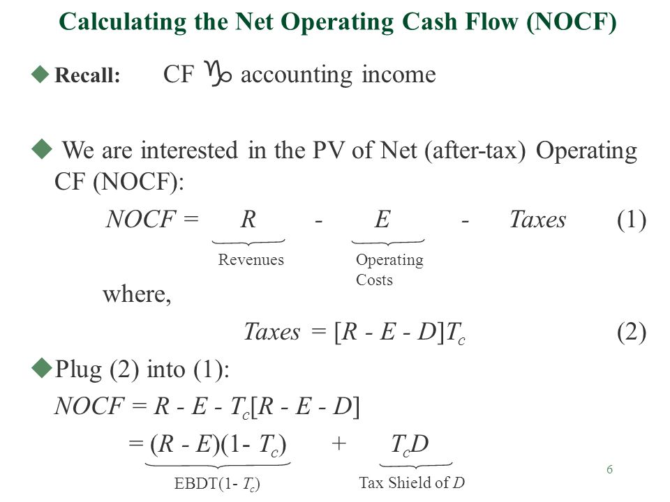 6 Calculating the Net Operating Cash Flow (NOCF) Recall: CF g accounting income u We are interested in the PV of Net (after-tax) Operating CF (NOCF): NOCF = R - E - Taxes(1) where, Taxes= [R - E - D]T c (2) uPlug (2) into (1): NOCF = R - E - T c [R - E - D] = (R - E)(1- T c ) + T c D RevenuesOperating Costs EBDT(1- T c ) Tax Shield of D