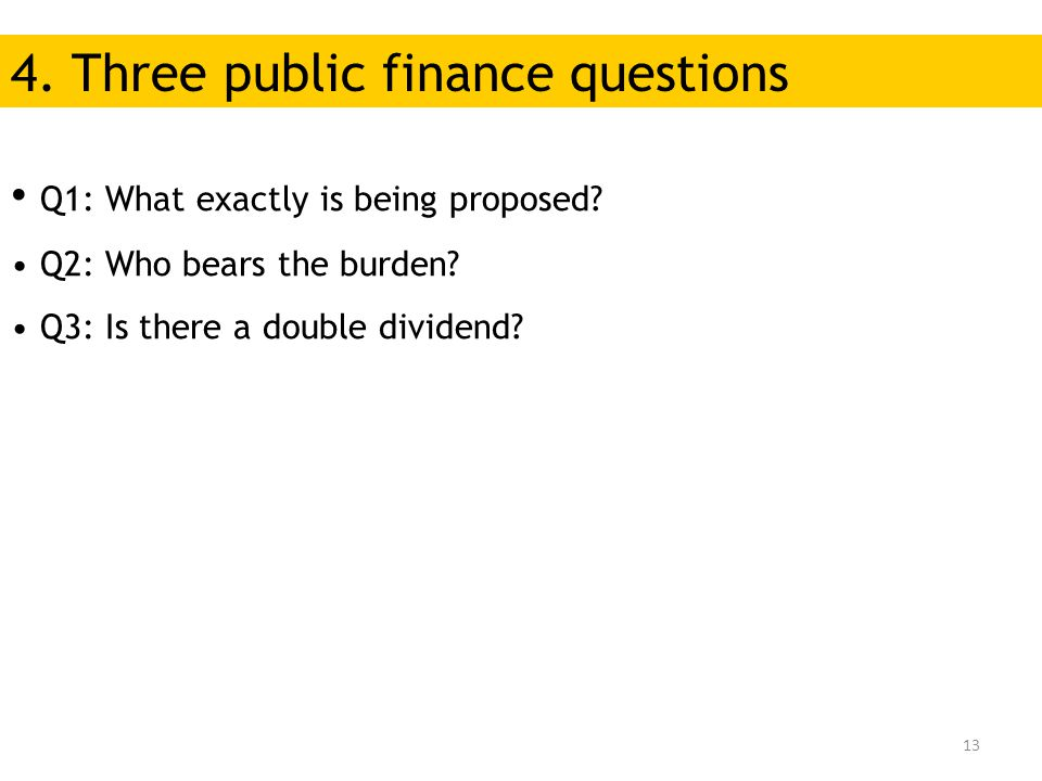 13 Q1: What exactly is being proposed.Q2: Who bears the burden.
