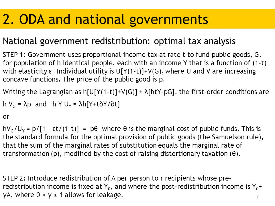 7 National government redistribution: optimal tax analysis STEP 1: Government uses proportional income tax at rate t to fund public goods, G, for popu