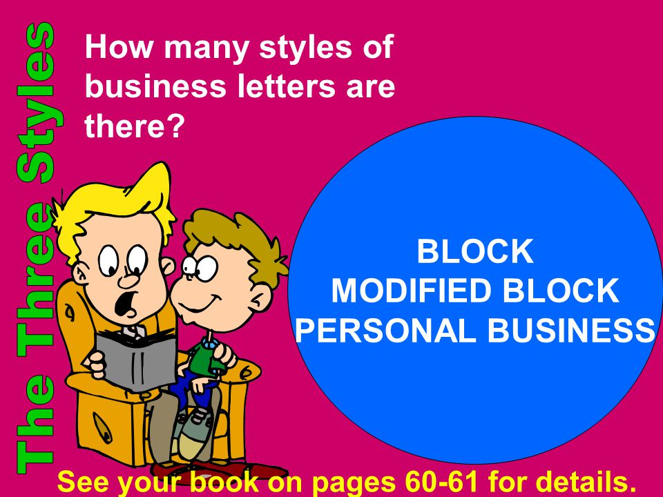 How many styles of business letters are there? BLOCK MODIFIED BLOCK PERSONAL BUSINESS See your book on pages 60-61 for details.