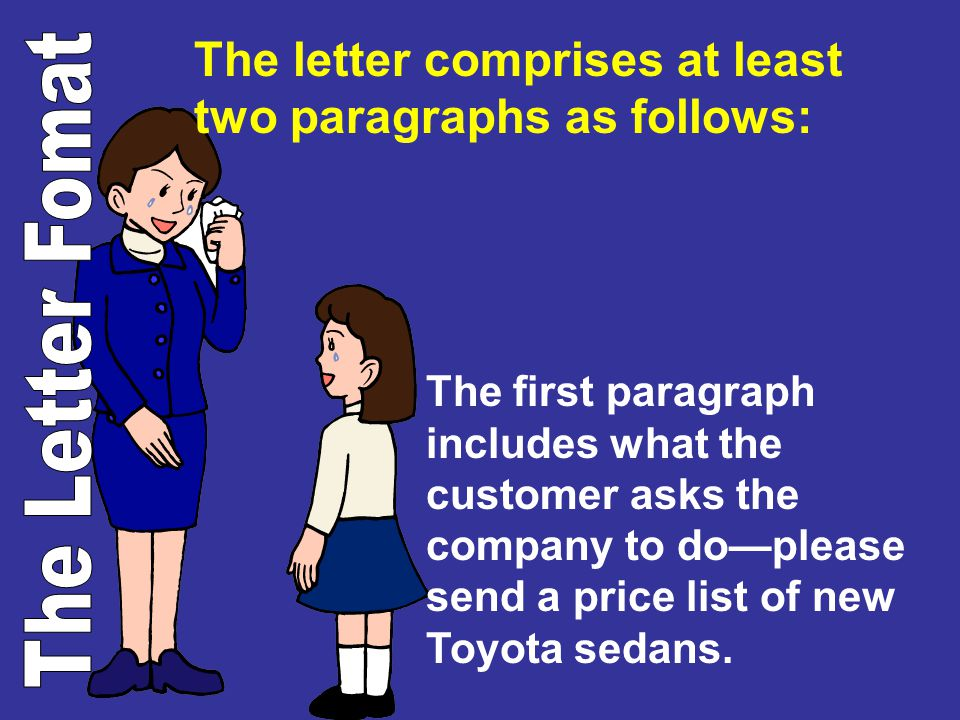 The letter comprises at least two paragraphs as follows: The first paragraph includes what the customer asks the company to doplease send a price list
