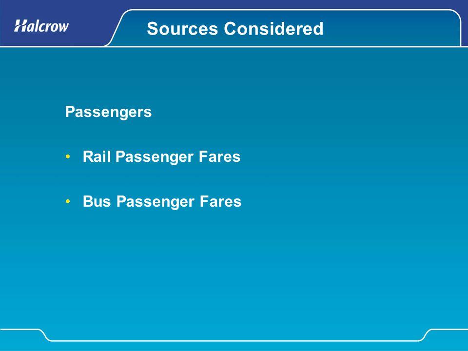 Sources Considered Passengers Rail Passenger Fares Bus Passenger Fares