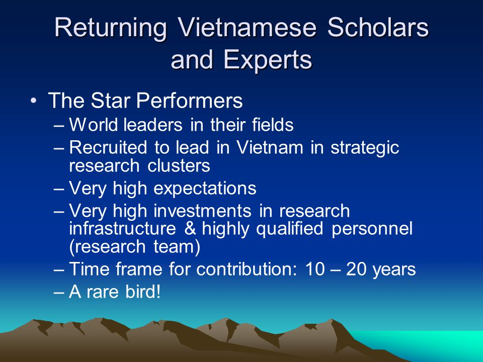 Returning Vietnamese Scholars and Experts The Star Performers –World leaders in their fields –Recruited to lead in Vietnam in strategic research clusters –Very high expectations –Very high investments in research infrastructure & highly qualified personnel (research team) –Time frame for contribution: 10 – 20 years –A rare bird!