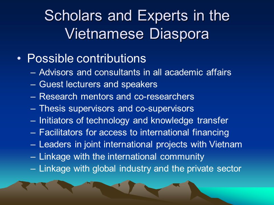 Scholars and Experts in the Vietnamese Diaspora Possible contributions –Advisors and consultants in all academic affairs –Guest lecturers and speakers –Research mentors and co-researchers –Thesis supervisors and co-supervisors –Initiators of technology and knowledge transfer –Facilitators for access to international financing –Leaders in joint international projects with Vietnam –Linkage with the international community –Linkage with global industry and the private sector