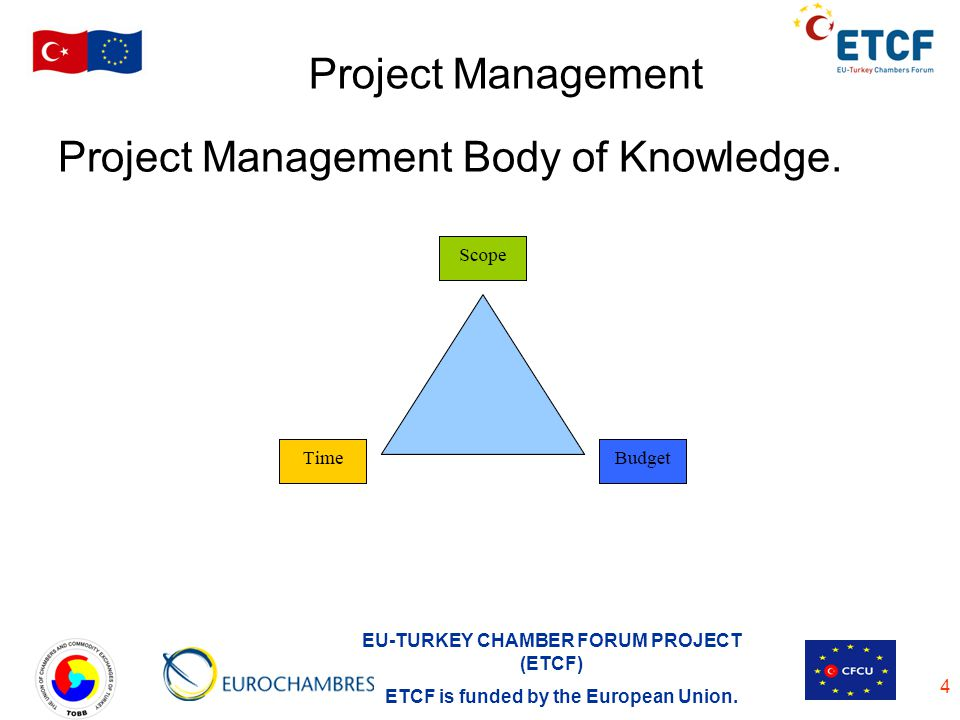 EU-TURKEY CHAMBER FORUM PROJECT (ETCF) ETCF is funded by the European Union. 4 Project Management Project Management Body of Knowledge.