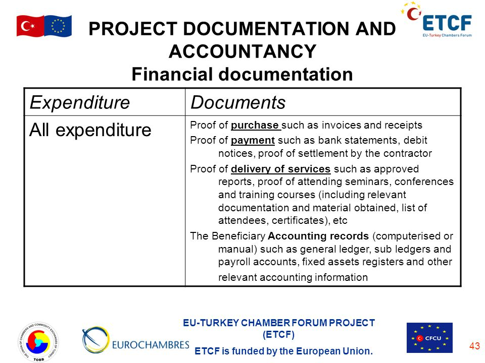 EU-TURKEY CHAMBER FORUM PROJECT (ETCF) ETCF is funded by the European Union. 43 PROJECT DOCUMENTATION AND ACCOUNTANCY Financial documentation Expendit