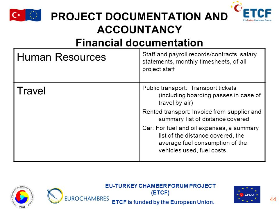 EU-TURKEY CHAMBER FORUM PROJECT (ETCF) ETCF is funded by the European Union. 44 PROJECT DOCUMENTATION AND ACCOUNTANCY Financial documentation Human Re