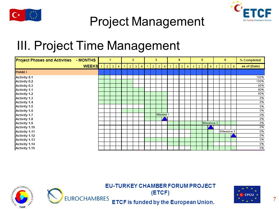 EU-TURKEY CHAMBER FORUM PROJECT (ETCF) ETCF is funded by the European Union. 7 Project Management III. Project Time Management