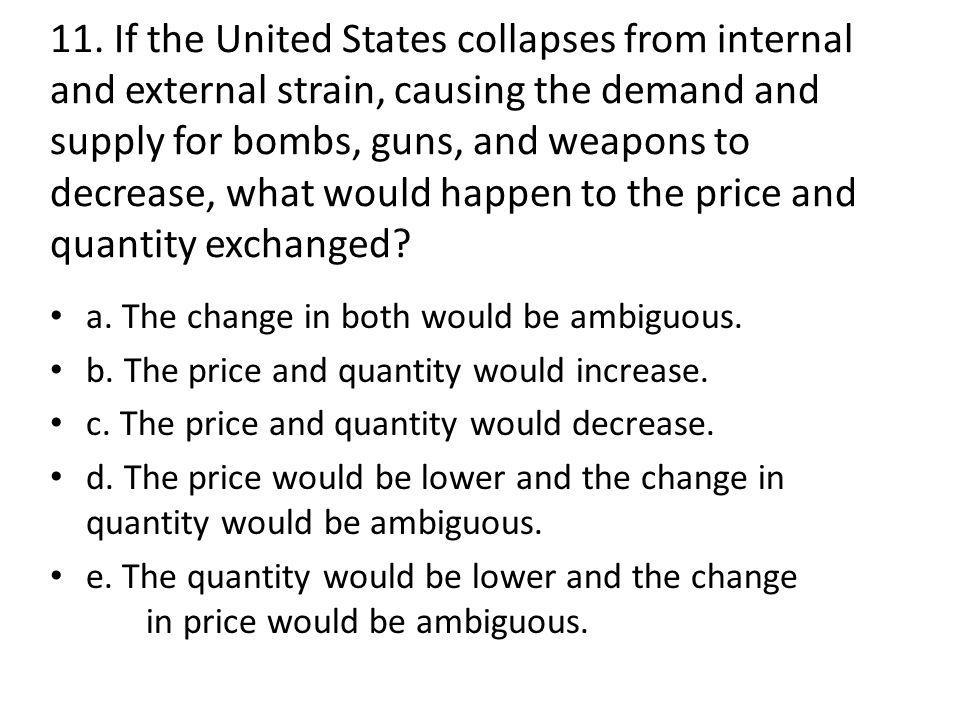 11. If the United States collapses from internal and external strain, causing the demand and supply for bombs, guns, and weapons to decrease, what wou