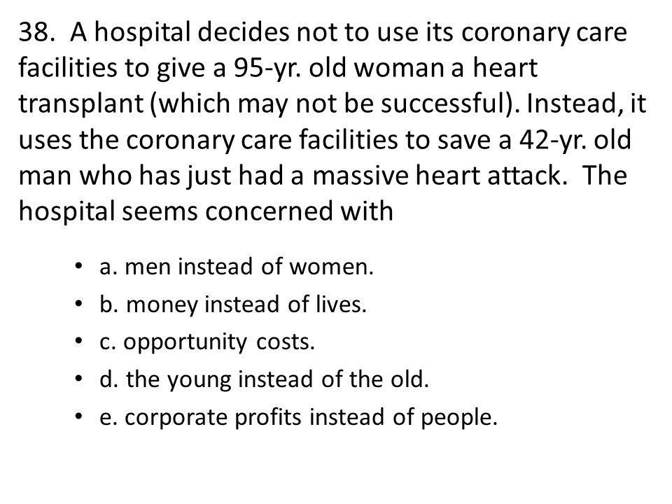 38. A hospital decides not to use its coronary care facilities to give a 95-yr.