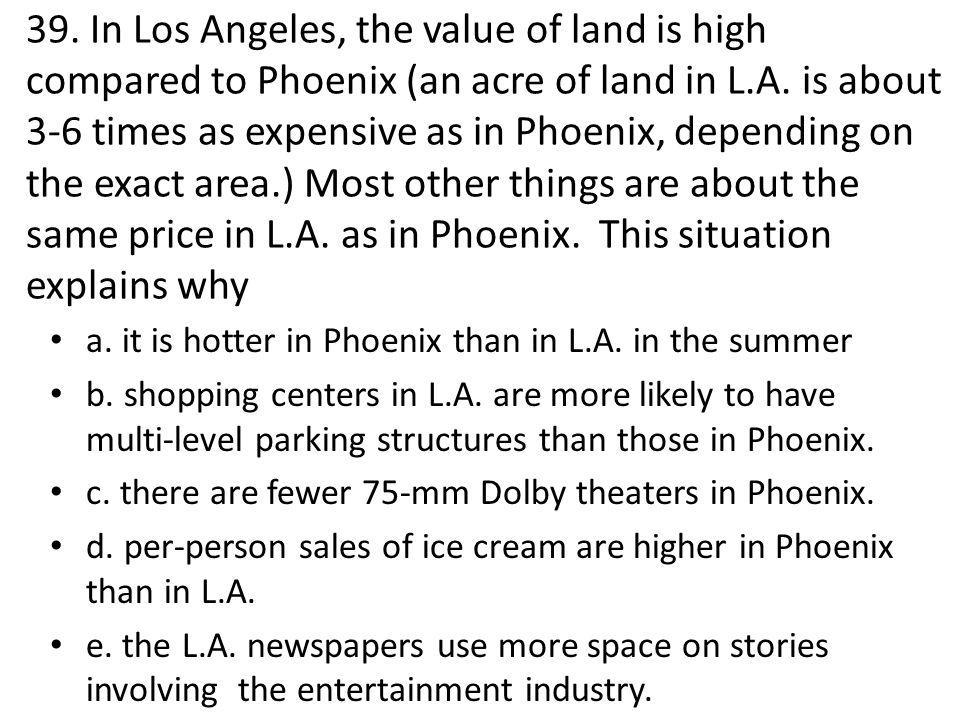 39. In Los Angeles, the value of land is high compared to Phoenix (an acre of land in L.A.