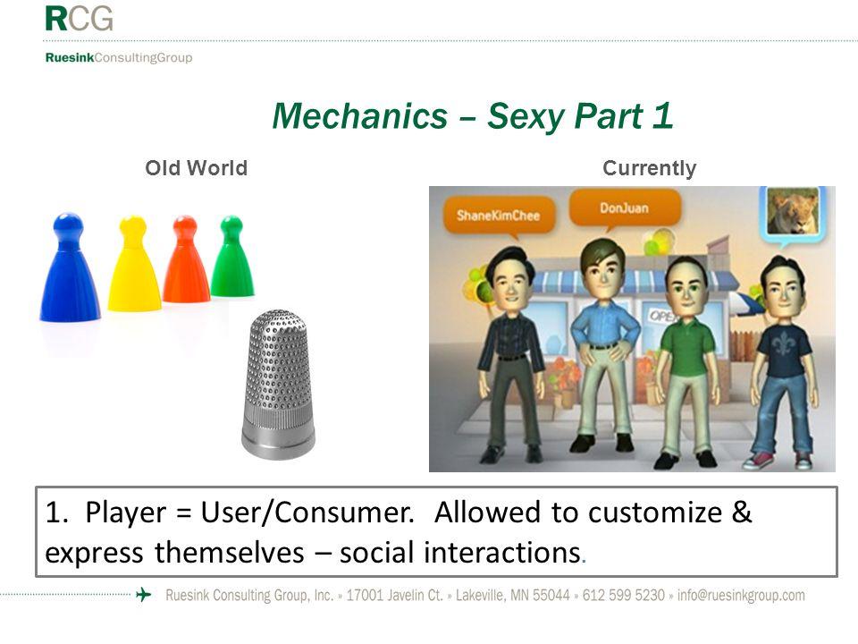 Mechanics – Sexy Part 1 1. Player = User/Consumer.