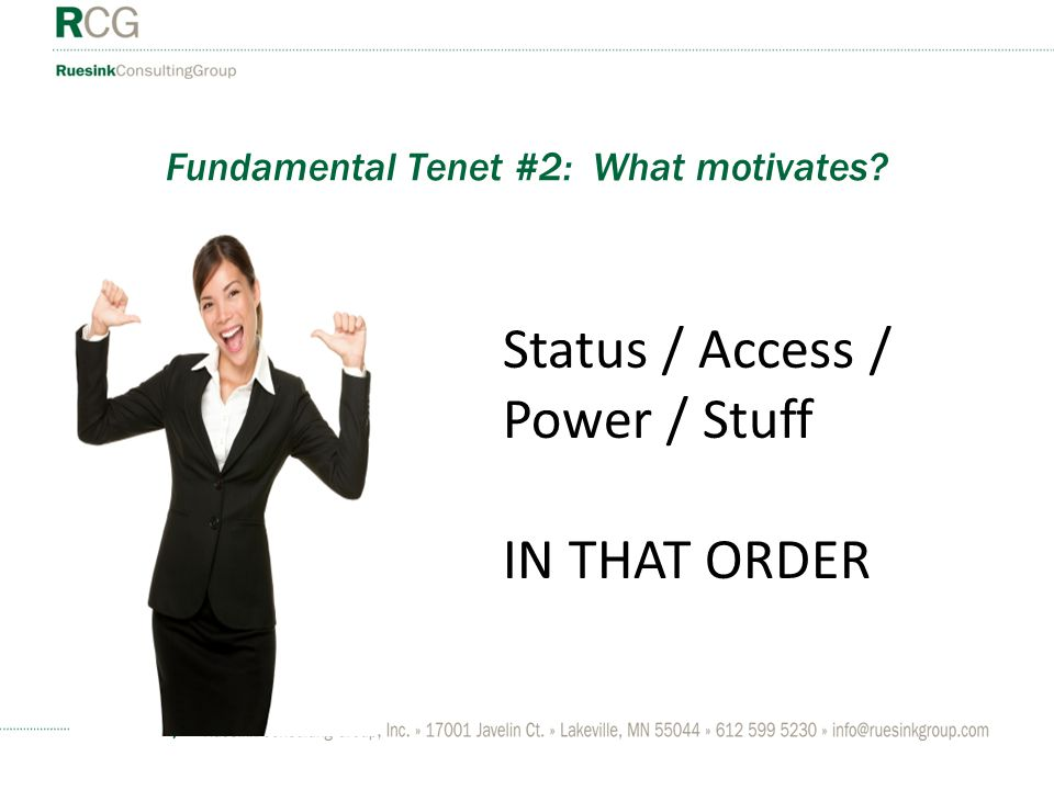 Fundamental Tenet #2: What motivates Status / Access / Power / Stuff IN THAT ORDER