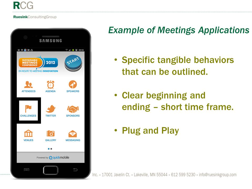 Example of Meetings Applications Specific tangible behaviors that can be outlined. Clear beginning and ending – short time frame. Plug and Play