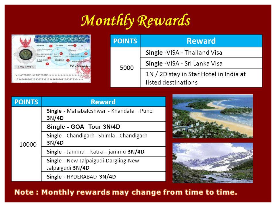 Monthly Rewards POINTS Reward 5000 Single -VISA - Thailand Visa Single -VISA - Sri Lanka Visa 1N / 2D stay in Star Hotel in India at listed destinations POINTSReward 10000 Single - Mahabaleshwar - Khandala – Pune 3N/4D Single - GOA Tour 3N/4D Single - Chandigarh- Shimla - Chandigarh 3N/4D Single - Jammu – katra – jammu 3N/4D Single - New Jalpaigudi-Dargling-New Jalpaigudi 3N/4D Single - HYDERABAD 3N/4D