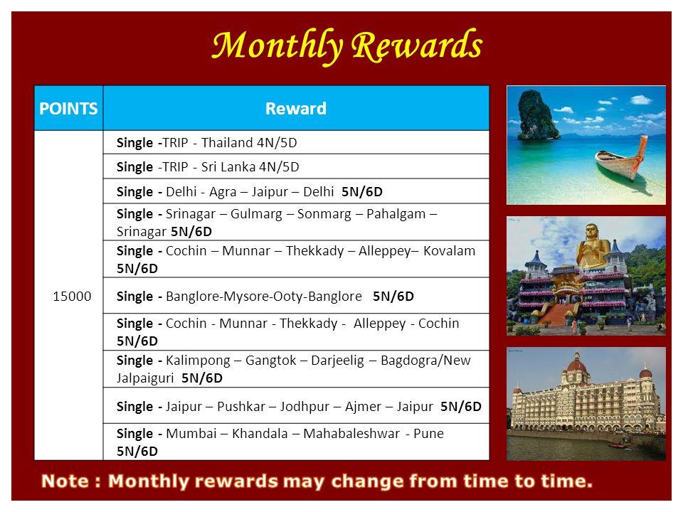 Monthly Rewards POINTSReward 15000 Single -TRIP - Thailand 4N/5D Single -TRIP - Sri Lanka 4N/5D Single - Delhi - Agra – Jaipur – Delhi 5N/6D Single - Srinagar – Gulmarg – Sonmarg – Pahalgam – Srinagar 5N/6D Single - Cochin – Munnar – Thekkady – Alleppey– Kovalam 5N/6D Single - Banglore-Mysore-Ooty-Banglore 5N/6D Single - Cochin - Munnar - Thekkady - Alleppey - Cochin 5N/6D Single - Kalimpong – Gangtok – Darjeelig – Bagdogra/New Jalpaiguri 5N/6D Single - Jaipur – Pushkar – Jodhpur – Ajmer – Jaipur 5N/6D Single - Mumbai – Khandala – Mahabaleshwar - Pune 5N/6D