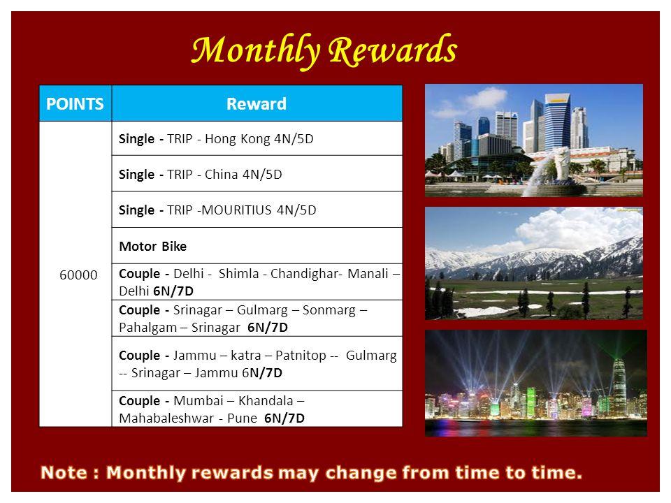 Monthly Rewards POINTSReward 60000 Single - TRIP - Hong Kong 4N/5D Single - TRIP - China 4N/5D Single - TRIP -MOURITIUS 4N/5D Motor Bike Couple - Delhi - Shimla - Chandighar- Manali – Delhi 6N/7D Couple - Srinagar – Gulmarg – Sonmarg – Pahalgam – Srinagar 6N/7D Couple - Jammu – katra – Patnitop -- Gulmarg -- Srinagar – Jammu 6N/7D Couple - Mumbai – Khandala – Mahabaleshwar - Pune 6N/7D