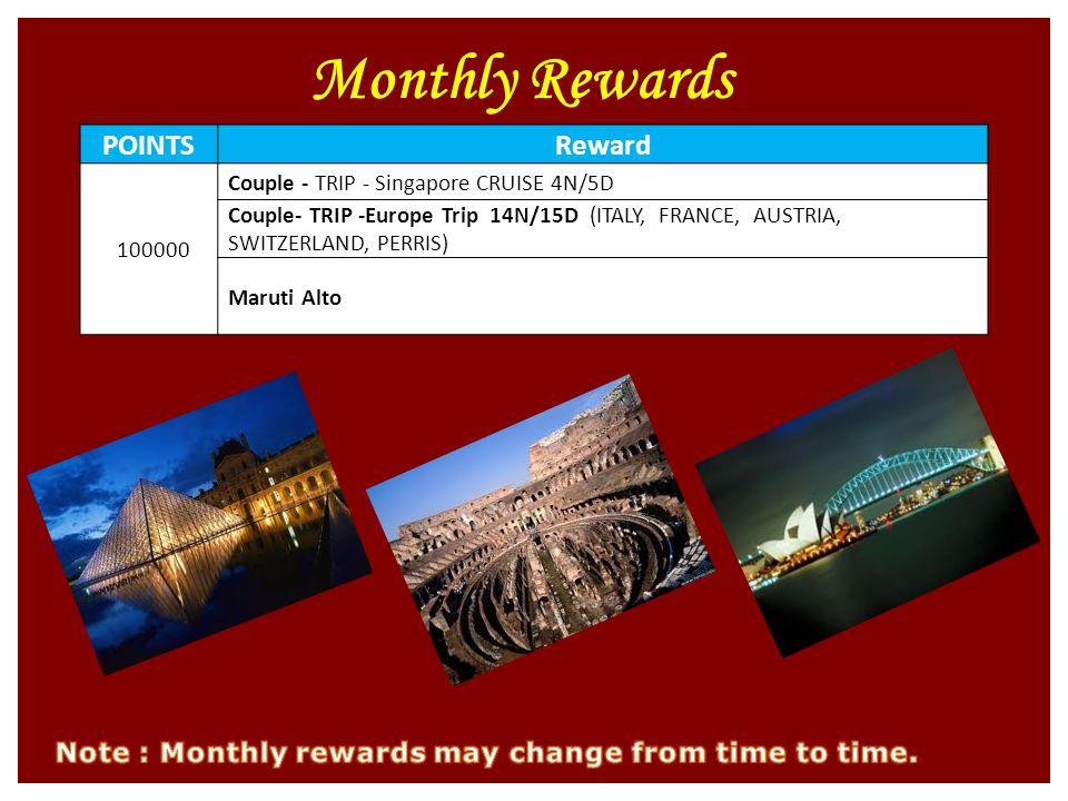 Monthly Rewards POINTSReward 100000 Couple - TRIP - Singapore CRUISE 4N/5D Couple- TRIP -Europe Trip 14N/15D (ITALY, FRANCE, AUSTRIA, SWITZERLAND, PERRIS) Maruti Alto