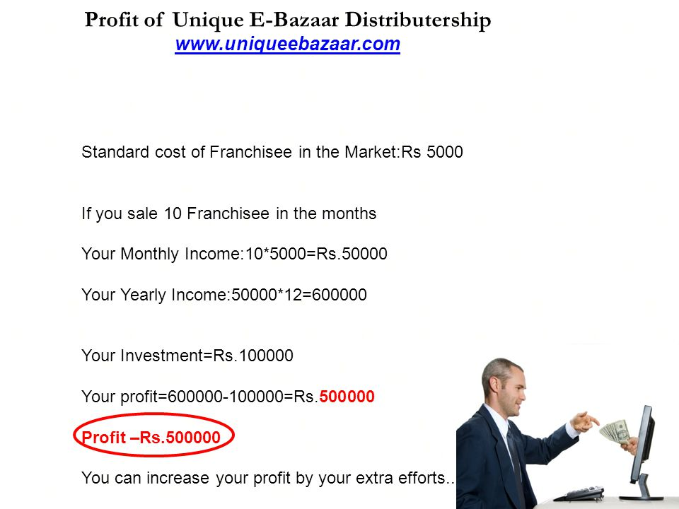 Profit of Unique E-Bazaar Distributership www.uniqueebazaar.com www.uniqueebazaar.com Standard cost of Franchisee in the Market:Rs 5000 If you sale 10