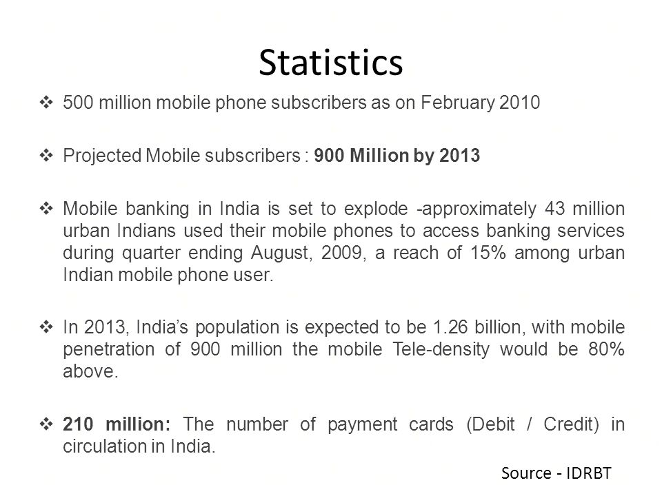 Statistics 500 million mobile phone subscribers as on February 2010 Projected Mobile subscribers : 900 Million by 2013 Mobile banking in India is set to explode -approximately 43 million urban Indians used their mobile phones to access banking services during quarter ending August, 2009, a reach of 15% among urban Indian mobile phone user.