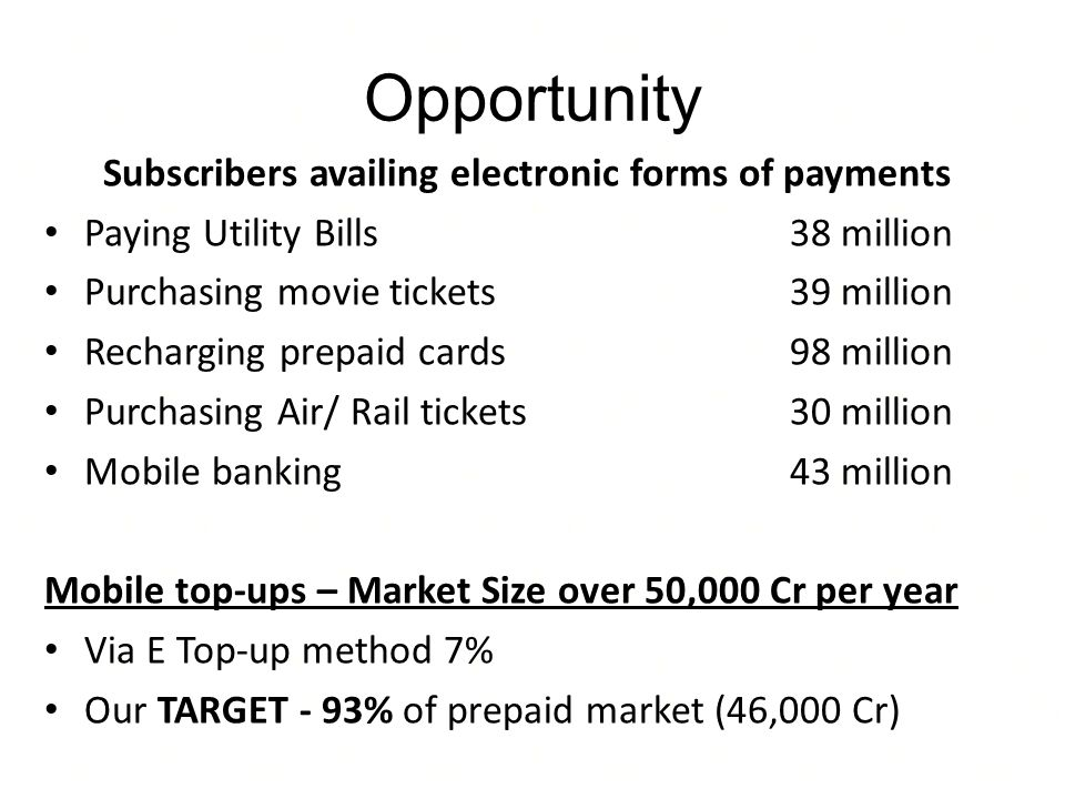 Subscribers availing electronic forms of payments Paying Utility Bills38 million Purchasing movie tickets39 million Recharging prepaid cards98 million Purchasing Air/ Rail tickets30 million Mobile banking43 million Mobile top-ups – Market Size over 50,000 Cr per year Via E Top-up method 7% Our TARGET - 93% of prepaid market (46,000 Cr) Opportunity