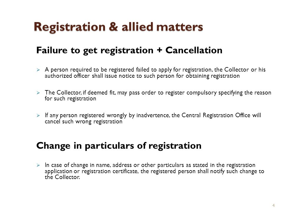 4 Registration & allied matters Failure to get registration + Cancellation A person required to be registered failed to apply for registration, the Co