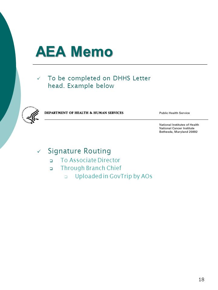 18 AEA Memo Signature Routing To Associate Director Through Branch Chief Uploaded in GovTrip by AOs To be completed on DHHS Letter head.