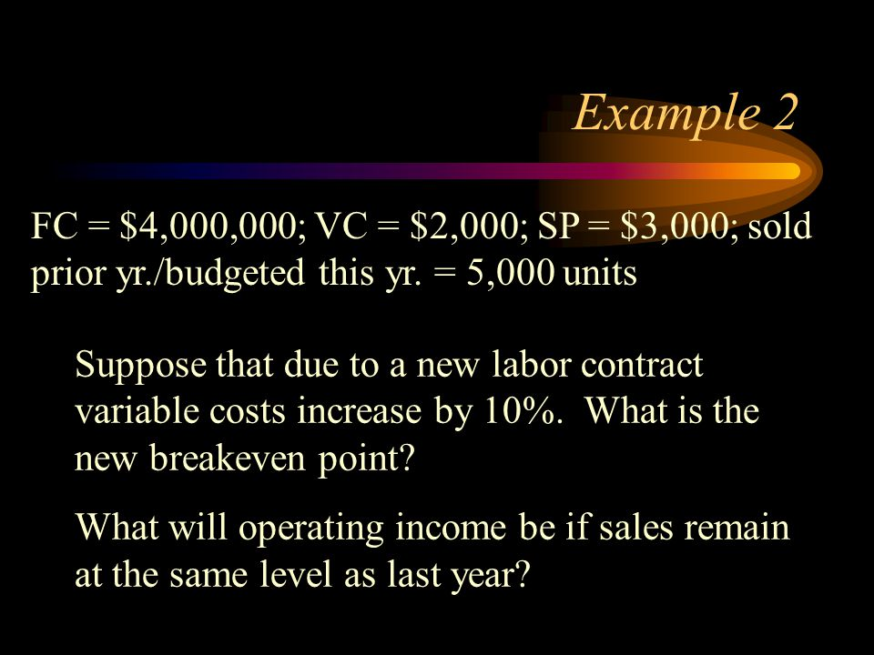 Example 2 Suppose that due to a new labor contract variable costs increase by 10%. What is the new breakeven point? What will operating income be if s