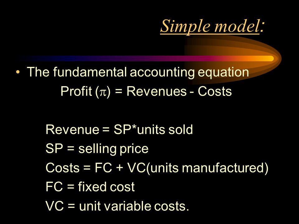 Simple model : The fundamental accounting equation Profit ( ) = Revenues - Costs Revenue = SP*units sold SP = selling price Costs = FC + VC(units manu