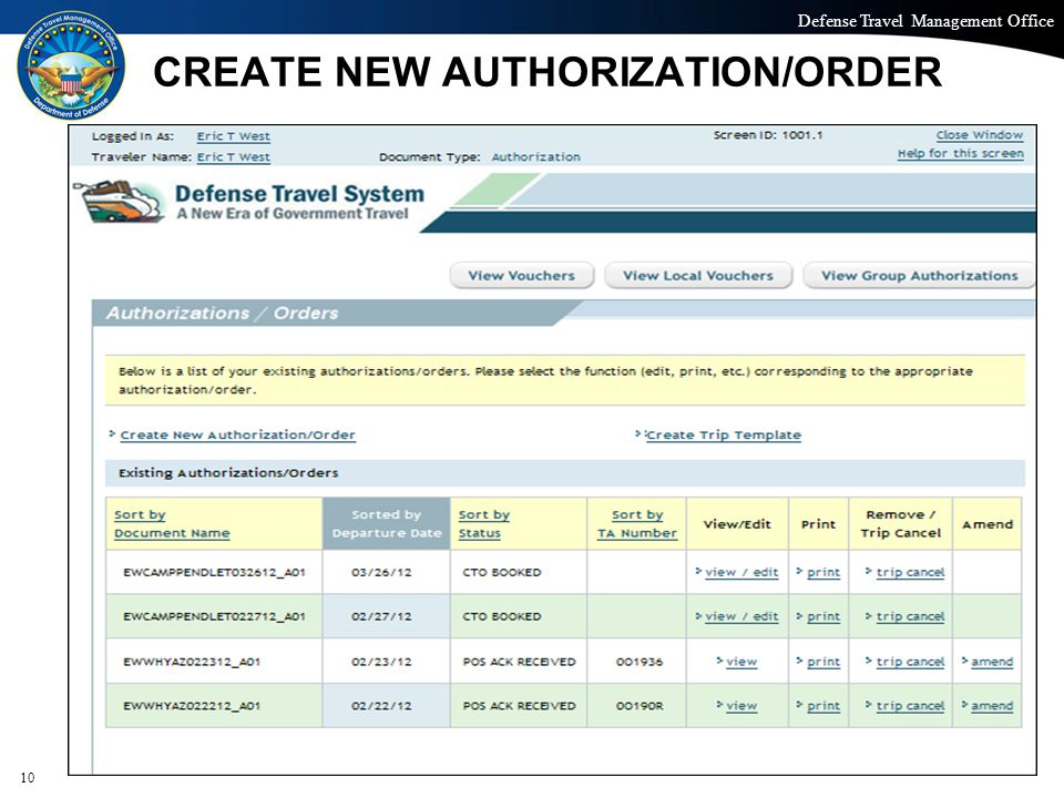 Defense Travel Management Office Office of the Under Secretary of Defense (Personnel and Readiness) CREATE NEW AUTHORIZATION/ORDER 10