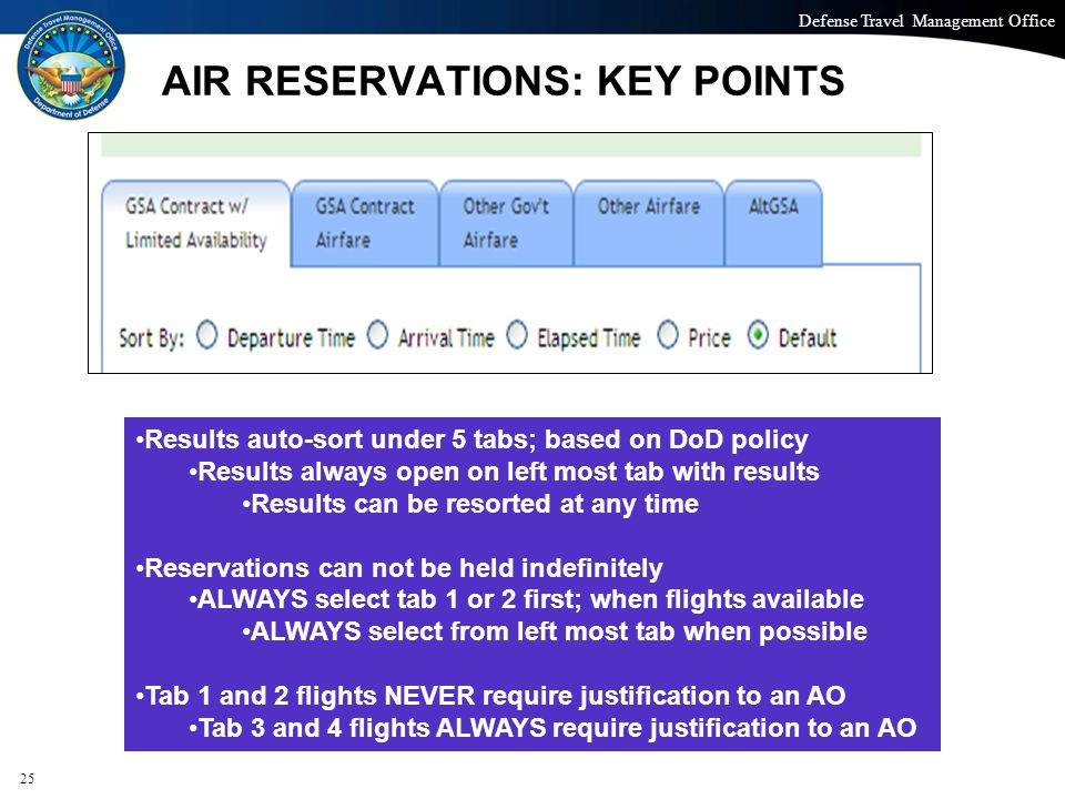 Defense Travel Management Office Office of the Under Secretary of Defense (Personnel and Readiness) AIR RESERVATIONS: KEY POINTS 25 Results auto-sort