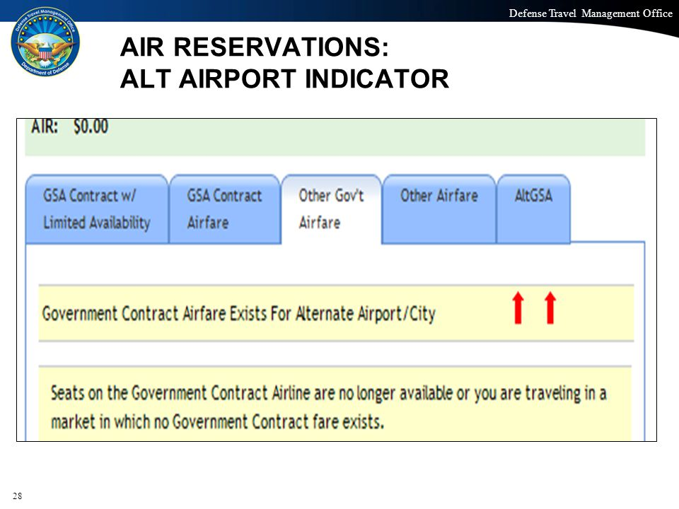 Defense Travel Management Office Office of the Under Secretary of Defense (Personnel and Readiness) AIR RESERVATIONS: ALT AIRPORT INDICATOR 28