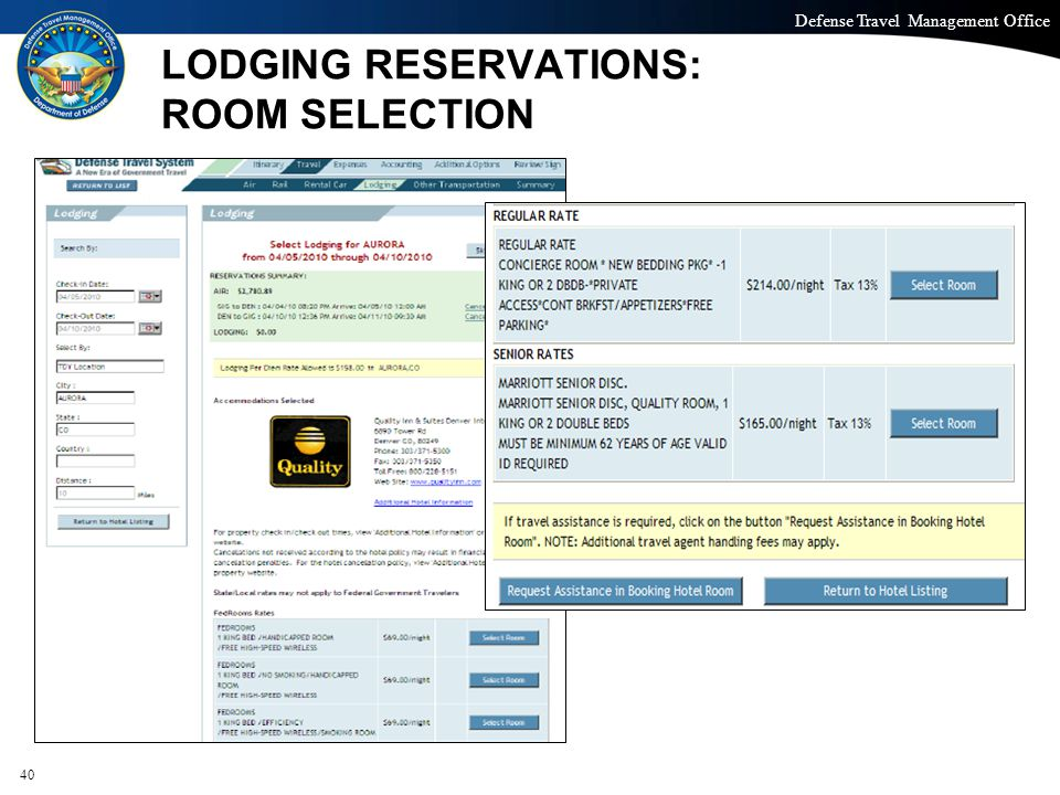Defense Travel Management Office Office of the Under Secretary of Defense (Personnel and Readiness) LODGING RESERVATIONS: ROOM SELECTION 40