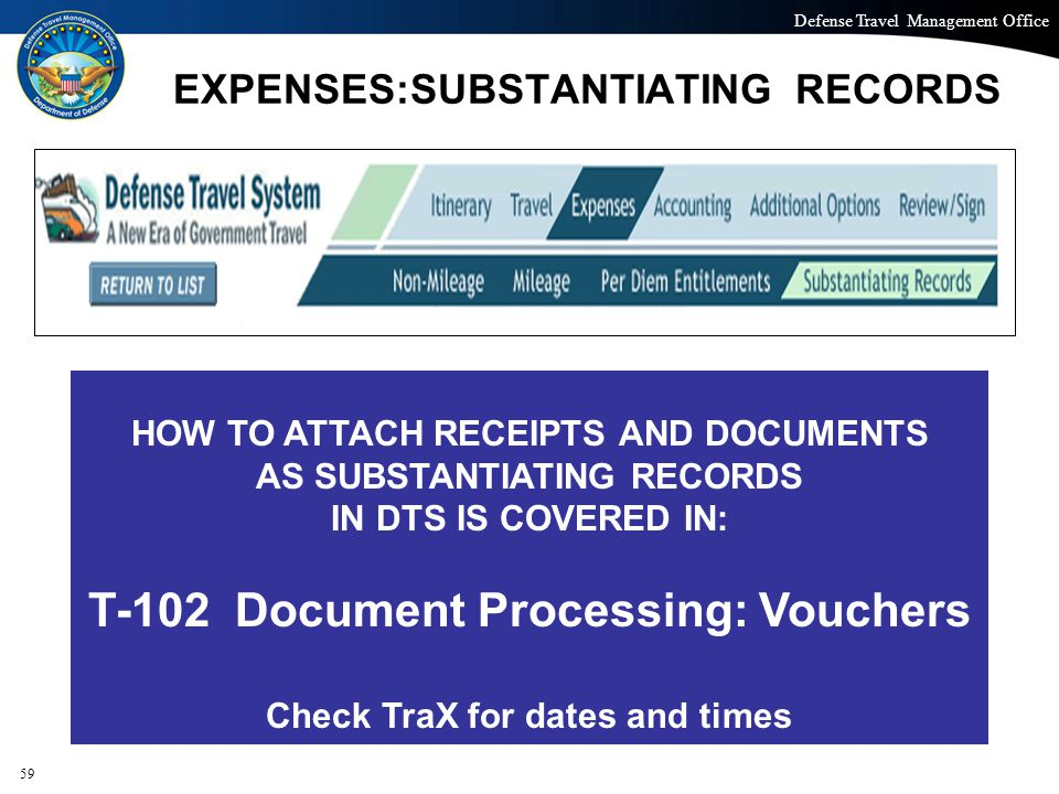 Defense Travel Management Office Office of the Under Secretary of Defense (Personnel and Readiness) EXPENSES:SUBSTANTIATING RECORDS 59 HOW TO ATTACH R