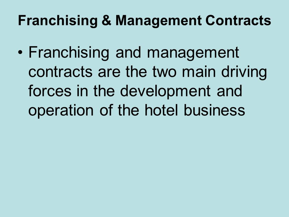 Franchising Began in 1907 by The Ritz Carlton A concept that allows a company to use other peoples money for growth rather than financing Franchising is used to rapidly expand businesses The franchisee is granted the rights to use trademarks, operating procedures, and other business procedures Fees for lodging are generally 3–4% of room revenue