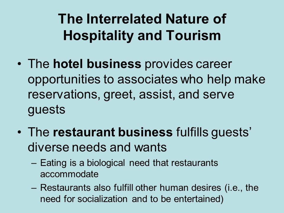 Characteristics of the Hospitality Industry Our services are mostly intangiblethe guest cannot test-drive a nights stay or taste the steak before dining –The products are for use, not possession There is inseparability of production and consumption of the service product, due to each guests unique demands There is also the perishability of our product –For example, we have 1,40 rooms in inventory, but we sell only 1,20 rooms.