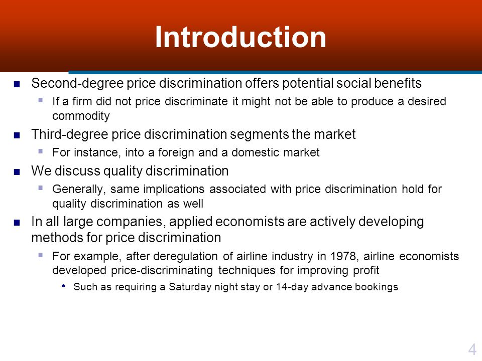 45 Quality Discrimination There is a difference in consumers willingness-to-pay for a given quality rather than quantity of a commodity For example, manufacturer of DVD players is practicing quality discrimination By offering a range of different physical components and different warranties for its DVDs Fundamentally, price discrimination and quality discrimination are identical models Same implications associated with various degrees of price discrimination hold for quality discrimination Actual commodity may be the same with a difference only in service Or commodity itself may be altered