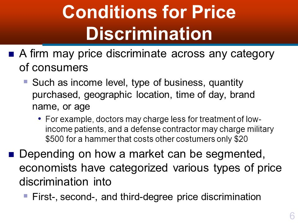 37 Third-degree Price Discrimination Consider a level of MR = MR* This value of marginal revenue is attained in both markets only if quantities sold in two market segments are q 1 * and q 2 * Remaining F.O.C.