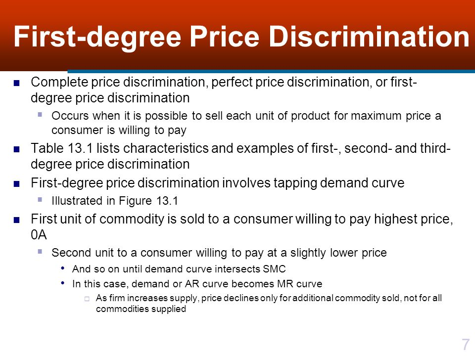 38 Third-degree Price Discrimination Price is highest in market segment with more steeply sloped demand function Domestic market with more inelastic demand Can investigate relationship of prices in separate markets and elasticity by recalling that MR j (q j ) = p j [1 + (1/ D j )] Where D j = (q j /p j )(p j /q j ) is own-price elasticity of demand in market j Can relate prices charged in separate markets to own-price elasticities of demand in each of these markets Given that condition for the two markets is