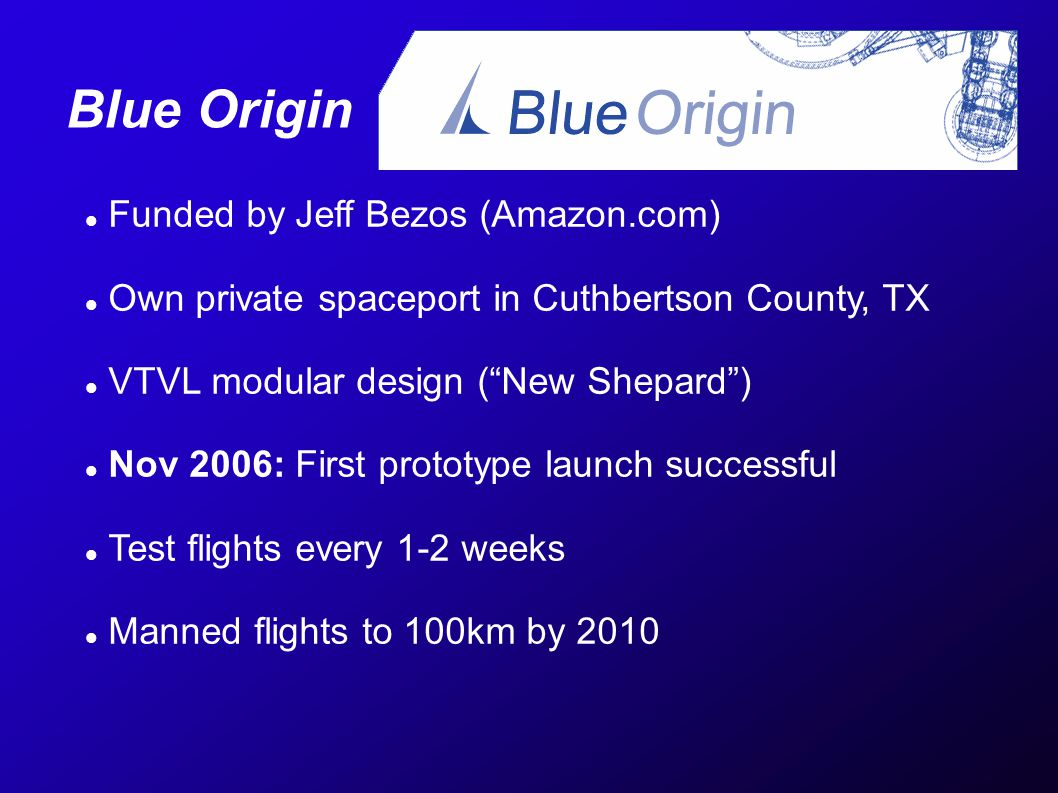 Blue Origin Funded by Jeff Bezos (Amazon.com) Own private spaceport in Cuthbertson County, TX VTVL modular design (New Shepard) Nov 2006: First protot