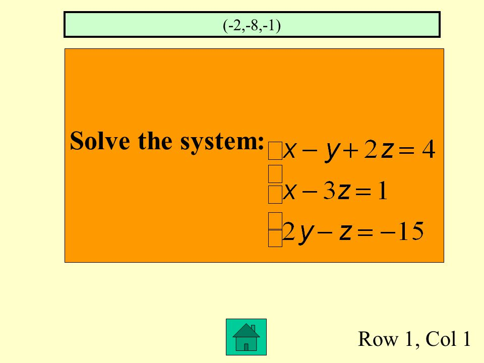 Row 1, Col 1 Solve the system: (-2,-8,-1)