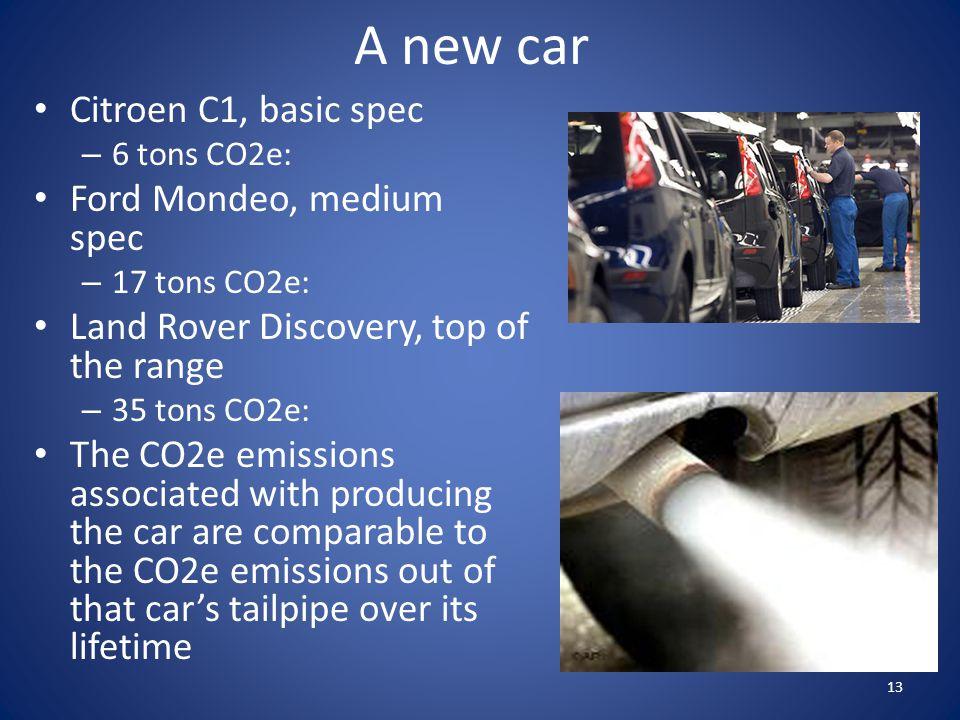 A new car Citroen C1, basic spec – 6 tons CO2e: Ford Mondeo, medium spec – 17 tons CO2e: Land Rover Discovery, top of the range – 35 tons CO2e: The CO