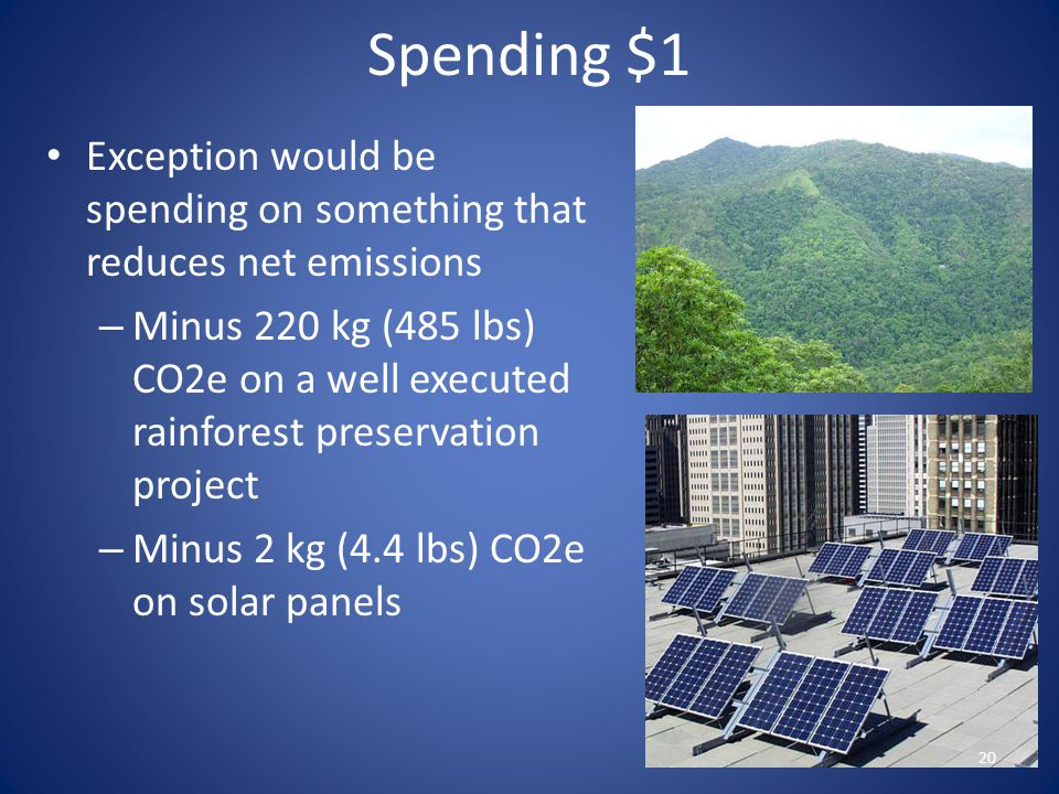 Spending $1 Exception would be spending on something that reduces net emissions – Minus 220 kg (485 lbs) CO2e on a well executed rainforest preservati