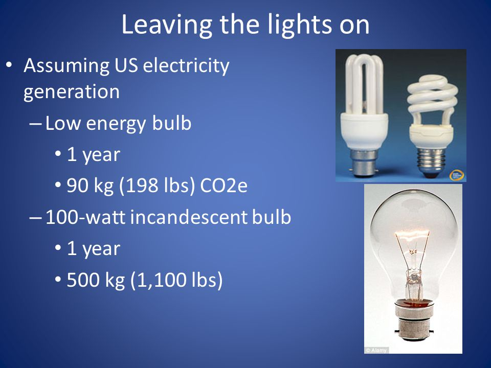 Leaving the lights on Assuming US electricity generation – Low energy bulb 1 year 90 kg (198 lbs) CO2e – 100-watt incandescent bulb 1 year 500 kg (1,1